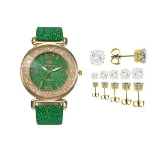 Green Glitter Band Watch Set Crystal Stud Earrings